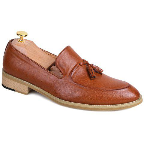 Fashionable Solid Colour and Tassels Design Men's Formal Shoes - BROWN 42