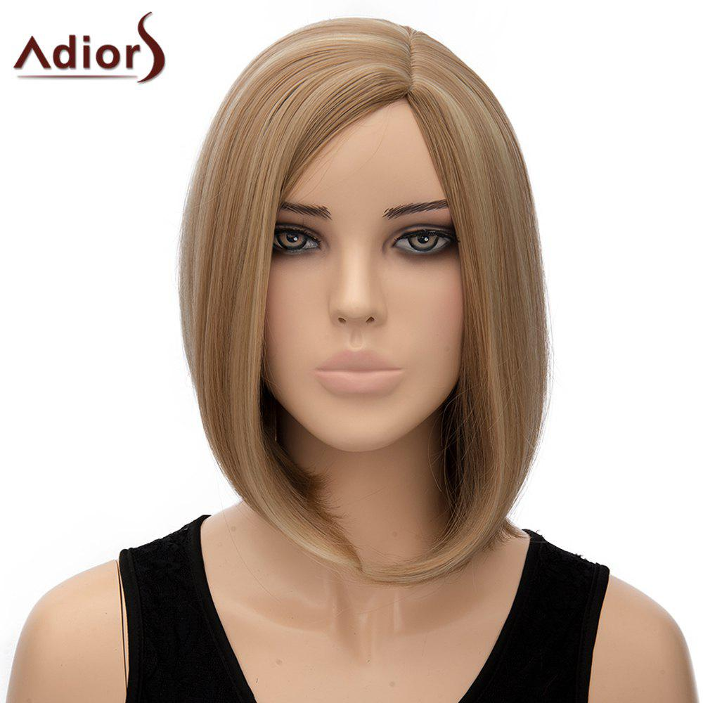 Noble Short Heat Resistant Synthetic Bob Hairstyle Straight Side Parting Adiors Wig For Women