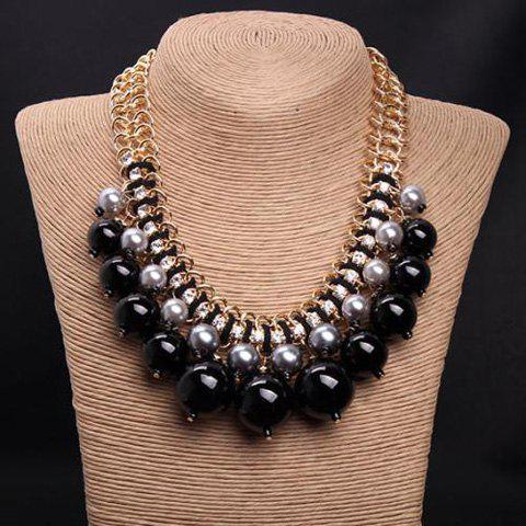 Fake Pearls Layered Rhinestone Bead Necklace - COLORMIX
