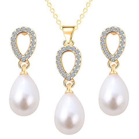 Faux Pearl Water Drop Necklace and Earrings - GOLDEN