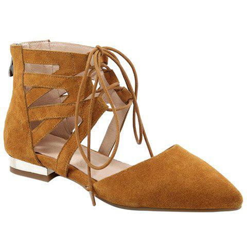 Fashion Hollow Out and Suede Design Women's Flat Shoes - 39 EARTHY