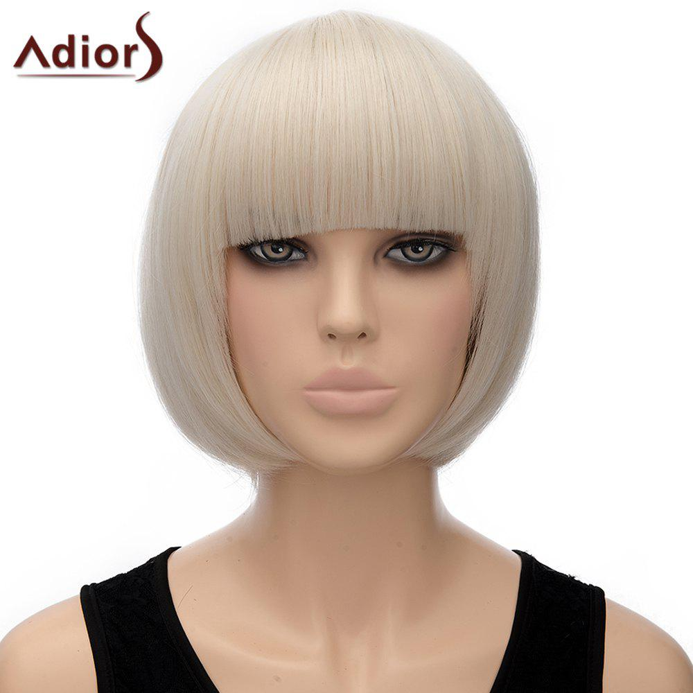 Attractive Full Bang Off-White Synthetic Bob Style Straight Short Women's Adiors Wig - OFF WHITE