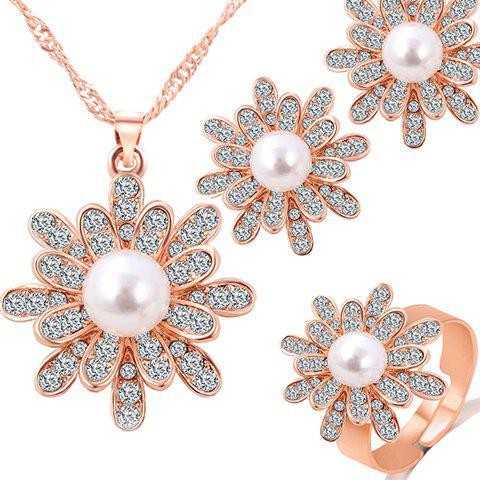 Faux Pearl Flower Necklace Ring and Earrings - GOLDEN ONE-SIZE