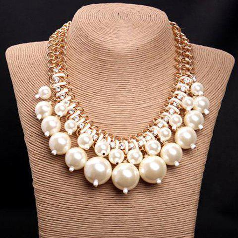 Faux Pearls and Rhinestone Statement Necklace - WHITE