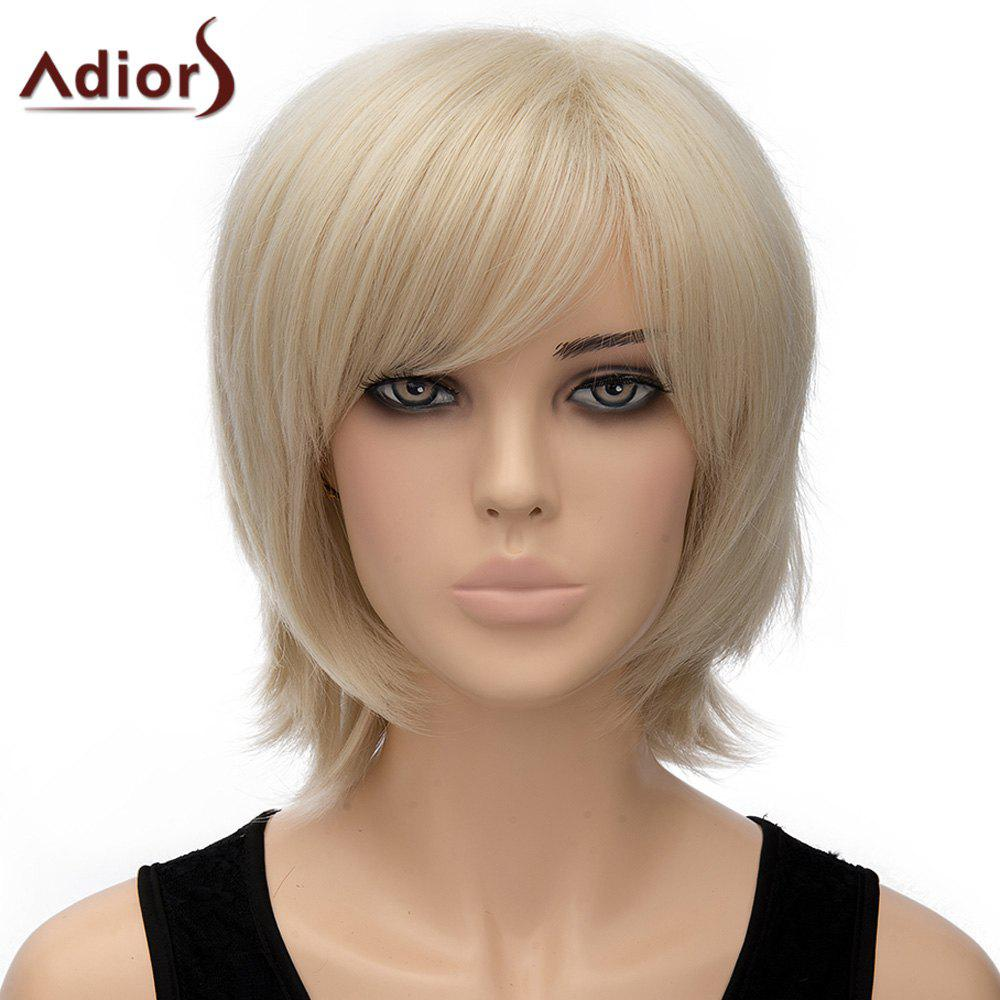 Fashion Fluffy Straight Light Blonde Short Women's Synthetic Adiors Wig - LIGHT GOLD