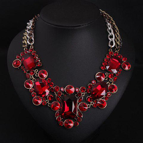 Fake Ruby Layered Geometric Necklace - RED