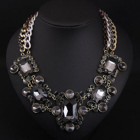 Gorgeous Layered Fake Crystal Geometric Necklace For Women