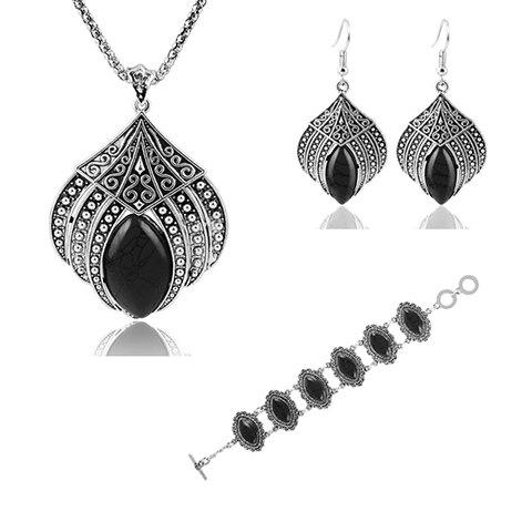 A Suit of Oval Necklace Bracelet and Earrings - BLACK