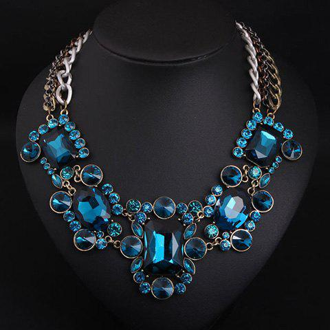 Fake Crystal Rhinestone Layered Necklace - BLUE