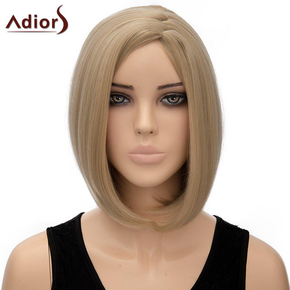 Bob Style Short Synthetic Elegant Straight Flaxen Centre Parting Capless Adiors Wig For Women - FLAX
