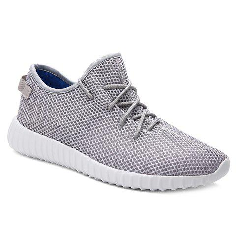 Fashionable Mesh and Solid Colour Design Men's Athletic Shoes - GRAY 40