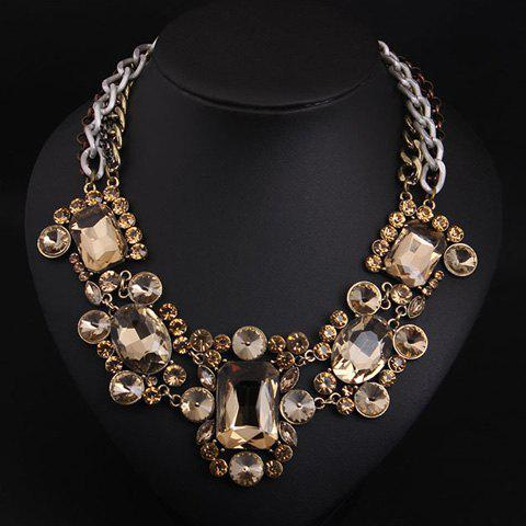 Gorgeous Rhinestone Fake Crystal Hollow Out Necklace For Women - CHAMPAGNE