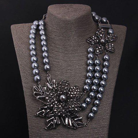Fake Pearls Rhinestoned Flower Multilayer Necklace - BLACK