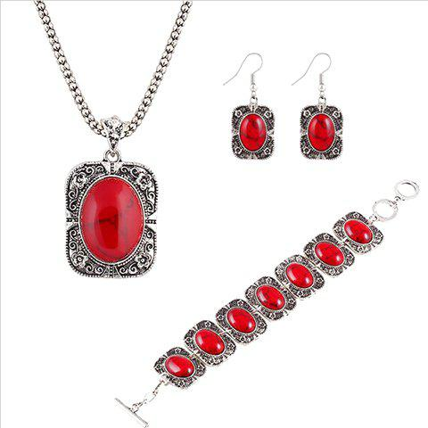 A Suit of Faux Rammel Geometric Necklace Bracelet and Earrings - RED