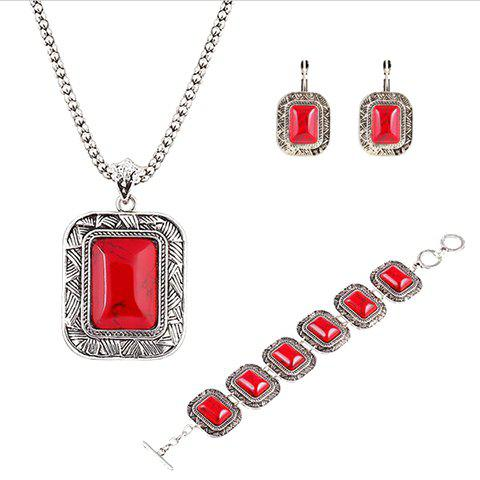 A Suit of Faux Rammel Rectangle Necklace Bracelet and Earrings - RED