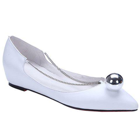 Simple Chain and Metal Design Women's Flat Shoes - WHITE 36