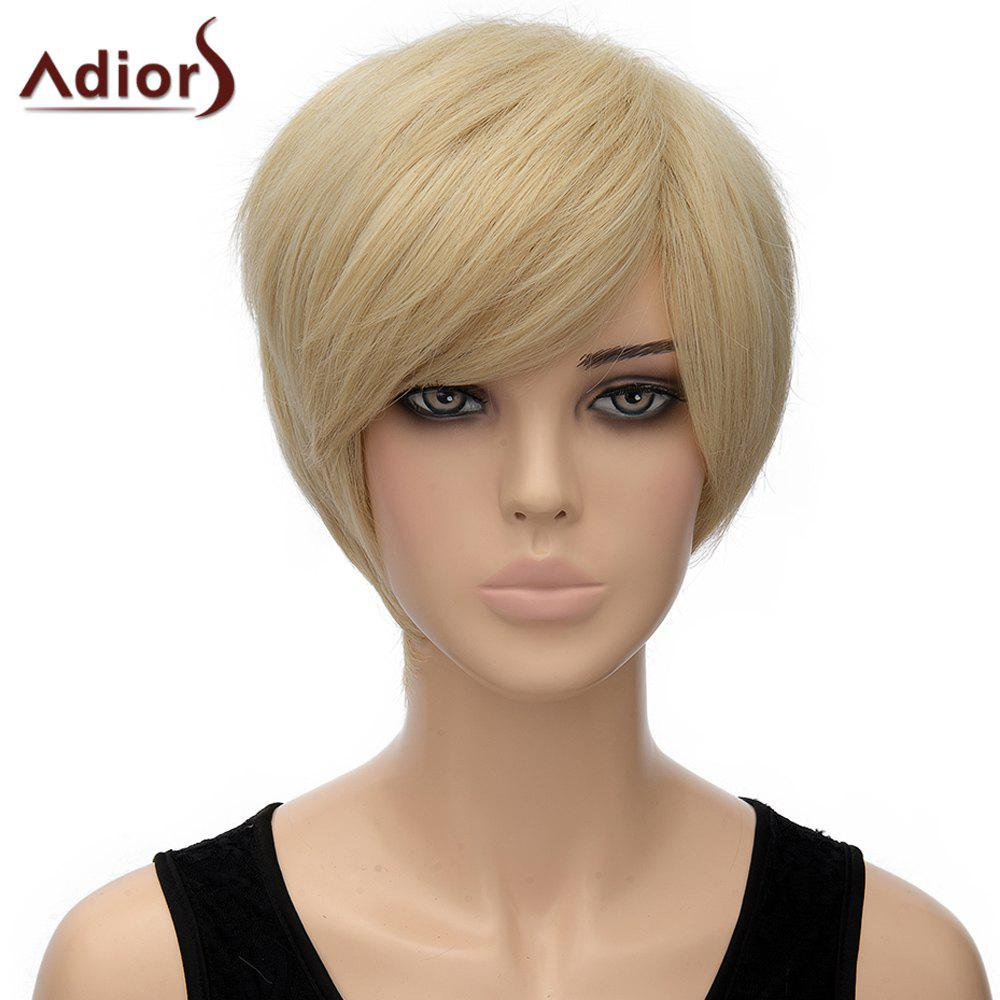 Spiffy Straight Light Blonde Short Side Bang Synthetic Adiors Wig For Women - LIGHT GOLD