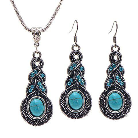 A Suit of Rhinestone Faux Turquoise Necklace and Earrings - BLUE