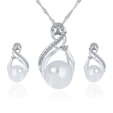 A Suit of Faux Pearl Infinity Hollow Out Necklace and Earrings