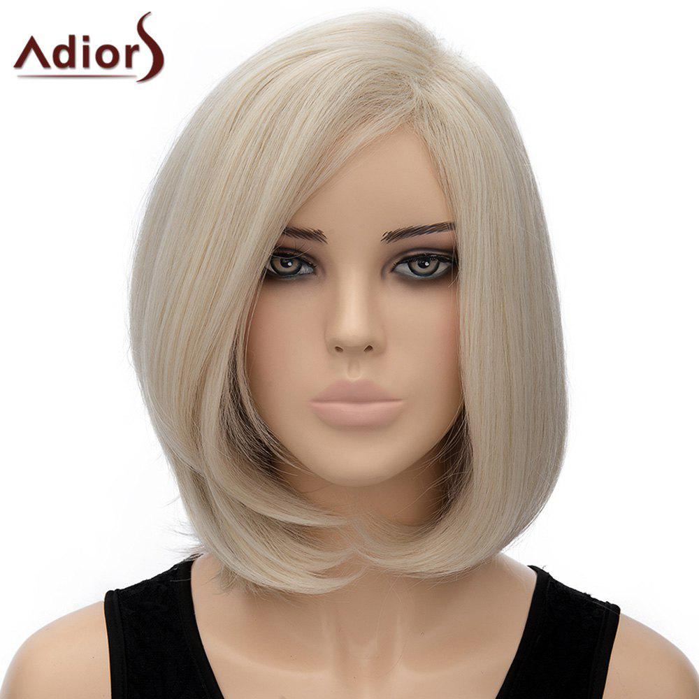 Bob Hairstyle Straight Side Parting Nobby Light Flax Short Synthetic Adilors Wig For Women - SHALLOW FLAXEN