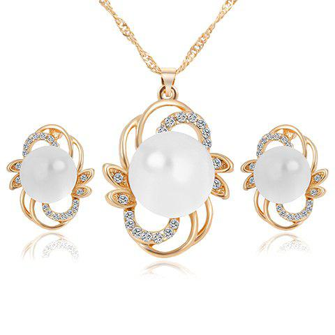 A Suit of Charming Faux Pearl Necklace Jewelry and Earrings For Women