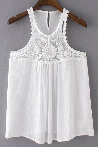 Charming Round Collar Lace Spliced Pure Color Tank Top For Women - WHITE M