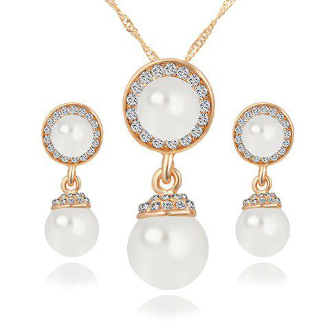 A Suit of Rhinestone Faux Pearl Necklace Jewelry and Earrings - GOLDEN