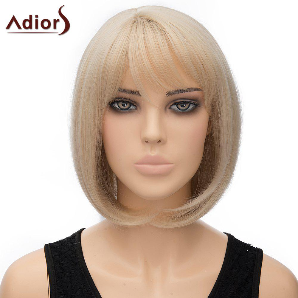 Bob Style Short Ladylike Straight Light Blonde Synthetic Adiors Wig For Women - LIGHT GOLD
