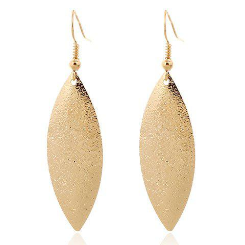 Pair of Frosted Leaf Earrings - GOLDEN