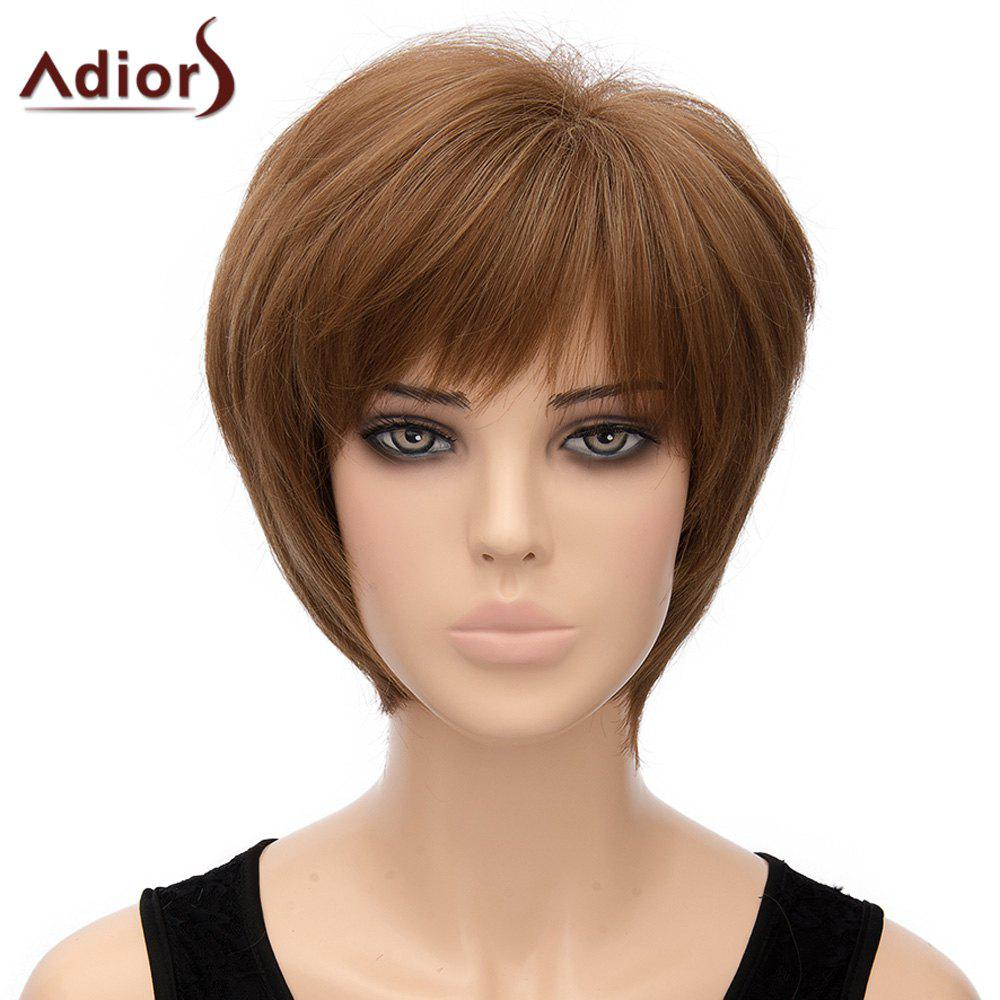 Fashion Straight Full Bang Synthetic Light Brown Short Capless Adiors Wig For Women - LIGHT BROWN