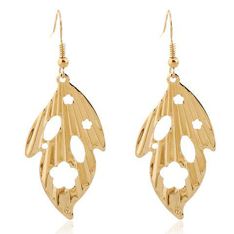 Pair of Leaf Hollow Out Earrings - GOLDEN