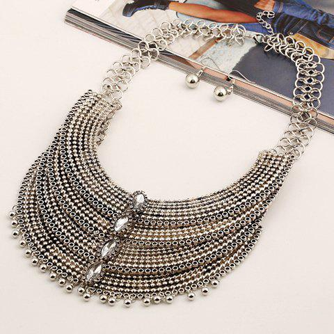 A Suit of Faux Gem Multilayer Bead Necklace and Earrings - SILVER/WHITE