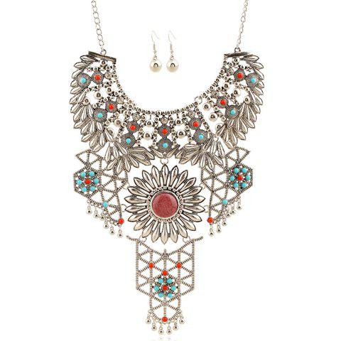 A Suit of Rhinestone Hollow Out Flower Bead Necklace and Earrings - COLORMIX