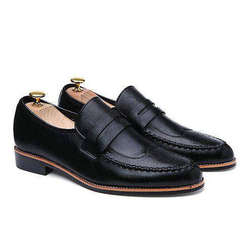 Trendy Stitching and Engraving Design Men's Formal Shoes - BLACK 41