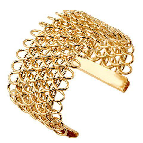 Hollow Out Opening Bracelet - GOLDEN