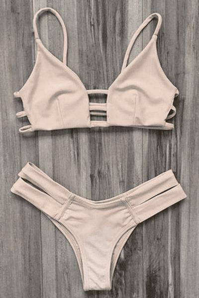Spaghetti Straps Ladder Cut Bikini - YELLOWISH PINK S