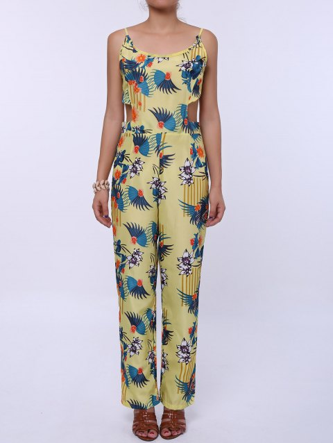 Fashionable Women's Spaghetti Strap Floral Print Backless Jumpsuit - YELLOW L