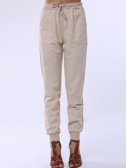 Women's Elastic Waist Pure Color Pants - APRICOT XL