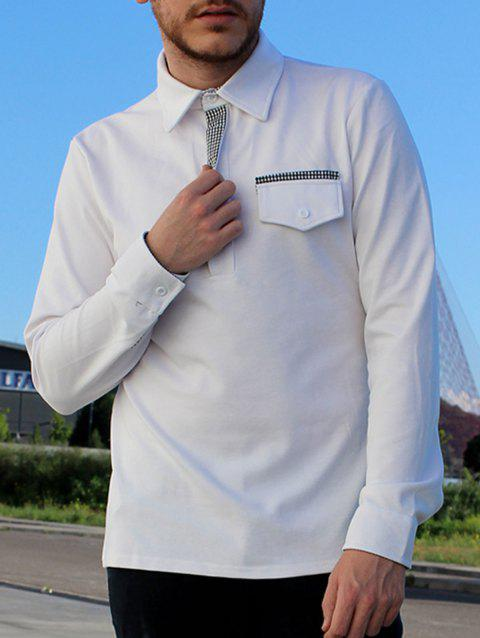 Button Embellished Pocket Turn-Down Collar Long Sleeve Men's Polo T-Shirt - WHITE M