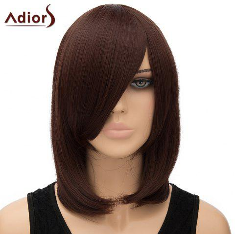 Fashion Women's Adiors Straight Inclined Bang High Temperature Fiber Cosplay Wig - DEEP BROWN