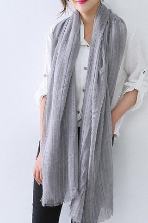 Chic Solid Color Fringed Edge Women's Voile Scarf - GRAY