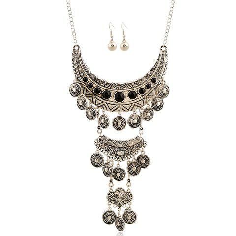 A Suit of Fake Gem Embossed Coin Necklace and Earrings - SILVER/BLACK
