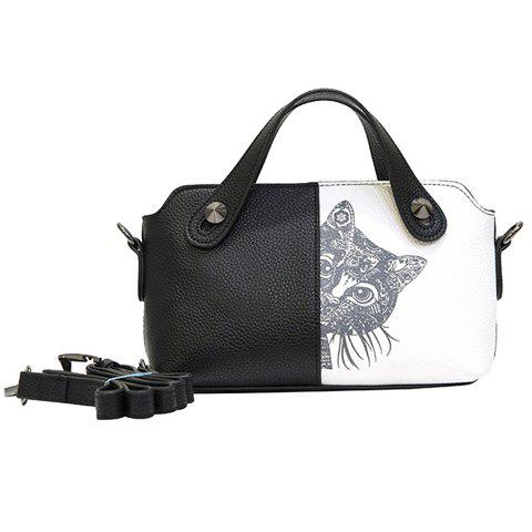 c0613701978 41% OFF] 2019 Stylish Color Block And Cat Print Design Women's Tote ...