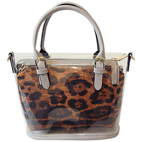 a61a54499764 Stylish Transparent Plastic and Splicing Design Women's Tote Bag
