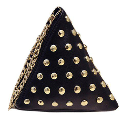 Casual Rivets and Triangle Shape Design Women's Tote Bag - BLACK