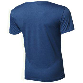 Letters Printed Round Neck Short Sleeve Men's T-Shirt - BLUE 2XL