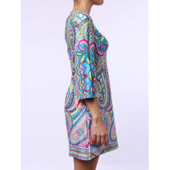Ethnic Style 3/4 Sleeve One-Shoulder Loose-Fitting Printed Women's Dress - GREEN M