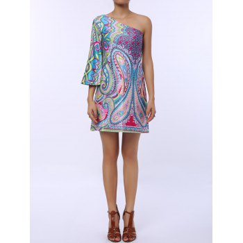 Ethnic Style 3/4 Sleeve One-Shoulder Loose-Fitting Printed Women's Dress
