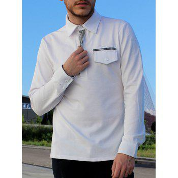 Button Embellished Pocket Turn-Down Collar Long Sleeve Men's Polo T-Shirt