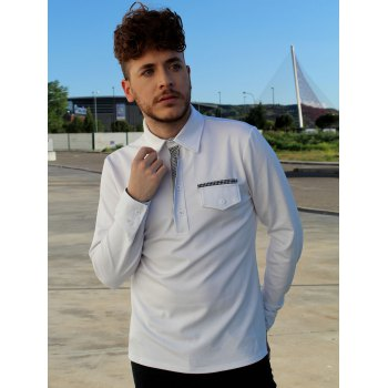 Button Embellished Pocket Turn-Down Collar Long Sleeve Men's Polo T-Shirt - WHITE XL